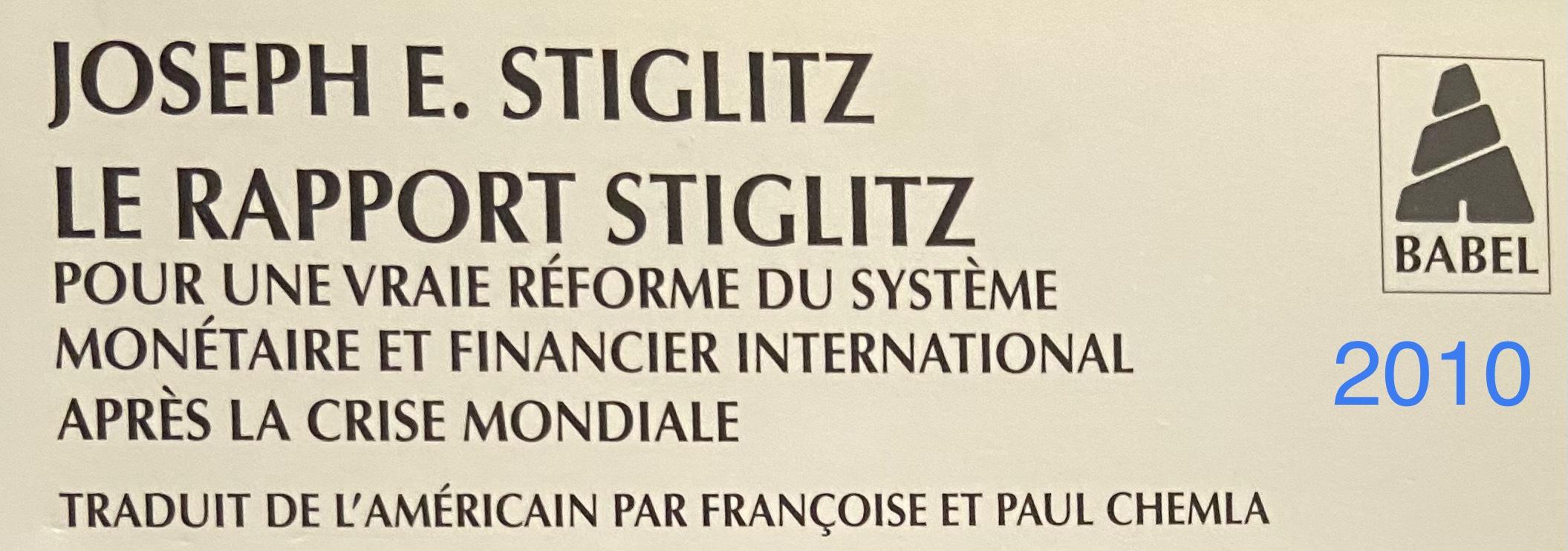 Une partie de la première de couverture du livre de J. E. Stiglitz
